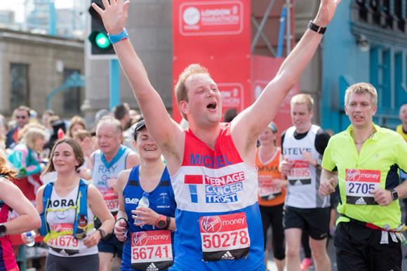 A Teenage Cancer Trust runner at this year's London Marathon