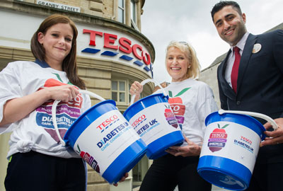 The fitness expert Rosemary Conley (centre), fundraising with Tesco employees