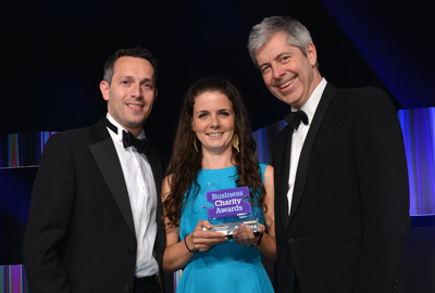 Marks & Spencer and the Prince's Trust receive one of their awards from Justin Webb