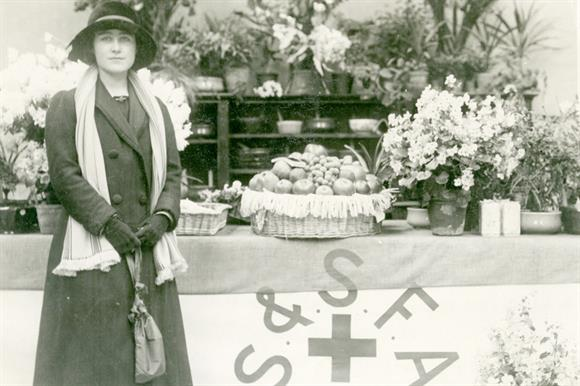 Lady Elizabeth Bowes-Lyon, later to become the Queen Mother, taking part in an SSAFA appeal during the First World War