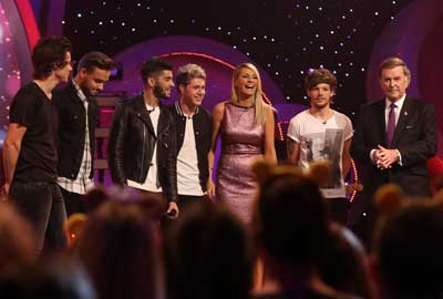 One Direction with Tess Daly and Sir Terry Wogan