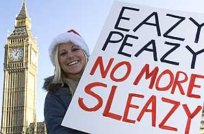 A protester at Parliament Square