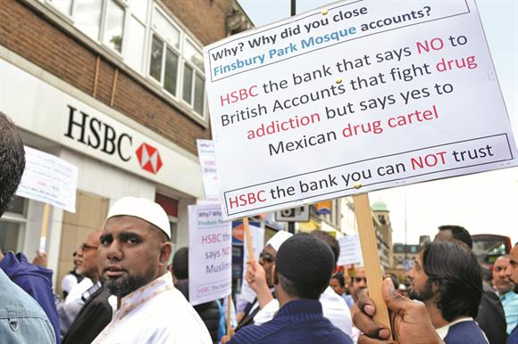 The Finsbury Park Mosque protest outside the HSBC branch in North London
