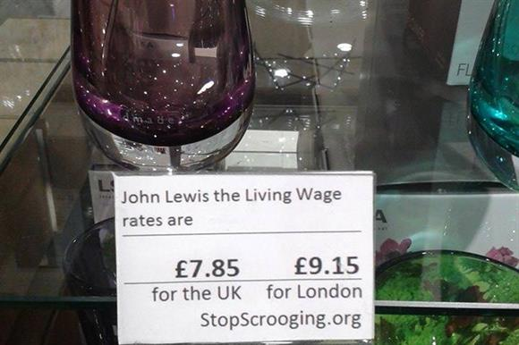 One of the living wage labels that have been placed in retail shops