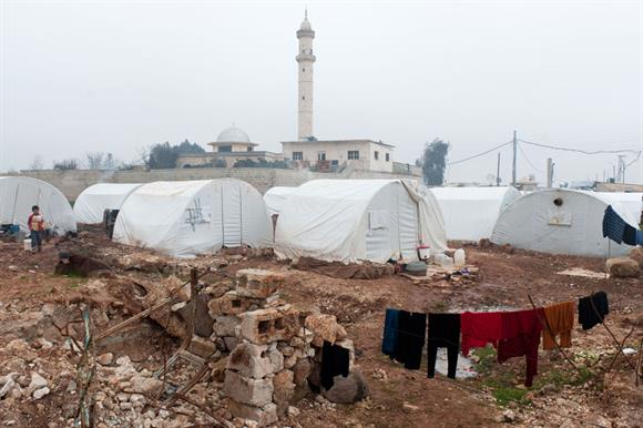 Azaz refugee camp in Syria, on the Turkish border