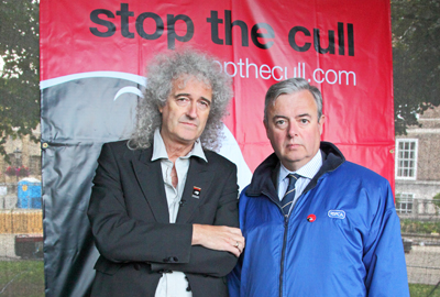 Gavin Grant (right) with musician and campaigner Brian May
