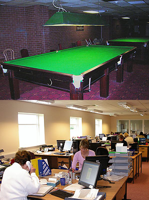 Before and after: The snooker hall is now a volunteer centre