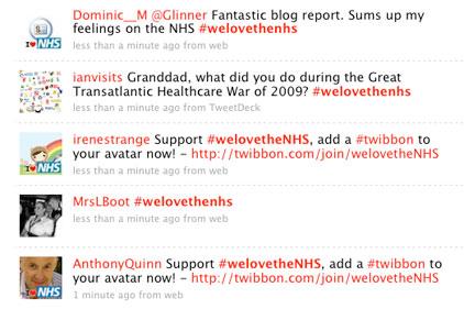 welovetheNHS: trending on Twitter
