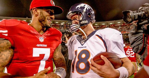 San Francisco 49ers quarterback pictured with former Denver Broncos quarterback, Peyton Manning. (Image via Facebook)