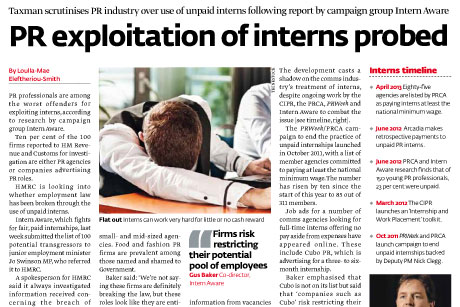 Illegal? Last week PRWeek reported on HMRC investigating the industry's use of unpaid interns