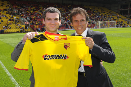 Shirt sponsor Miles Jacobson (left) and Watford's Gianfranco Zola