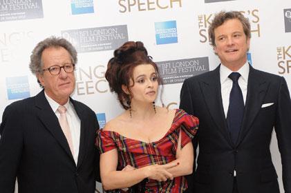 Blockbuster: King's Speech stars Geoffrey Rush (left), Helena Bonham Carter and Colin Firth