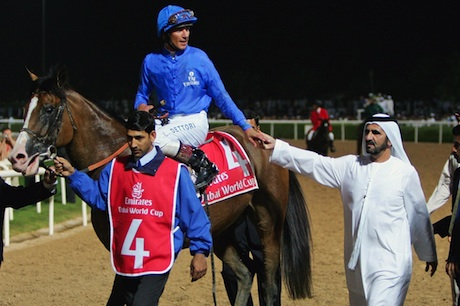 Defence: Sheikh Mohammed with Electrocutionist (not one of the suspended horses), ridden by Frankie Dettori