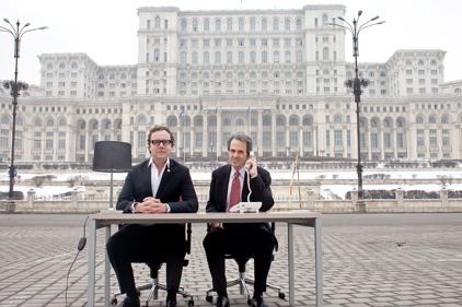 Romania: Matt Neale and Fred Cook outside People's Palace