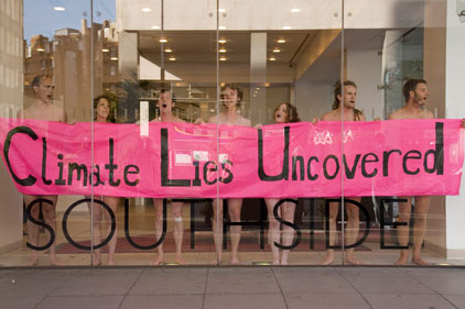 Naked protest: Edelman's London HQ