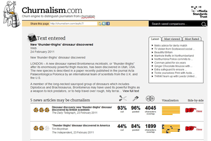Churnalism.com: Compares press releases with published stories