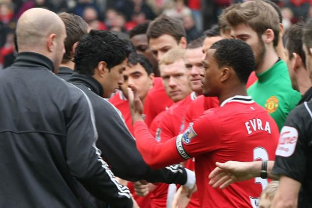 Handshake controversy: Luis Suarez and Patrice Evra (Getty Images)