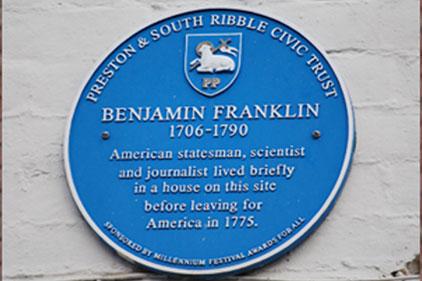 Blue plaque: Benjamin Franklin