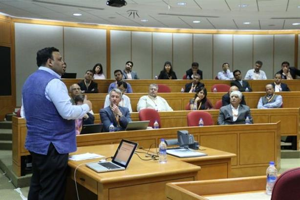 Arvind Gupta, BJP's national technology head speaks to social media experts in Mumbai earlier this month