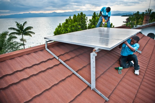 BBOX solar panel being installed in Goma, Democratic republic of Congo