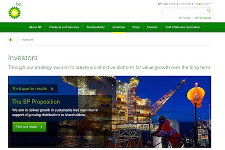 BP: Scored highly for its online presence