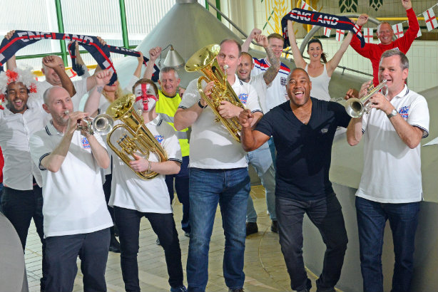 Barnes (in dark shirt) and the England Supporters Band get their groove in in Budweiser's brewery