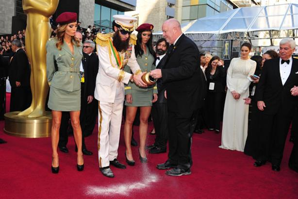 Urning your PR stripes: Sacha Baron Cohen stunt (Rex Features)