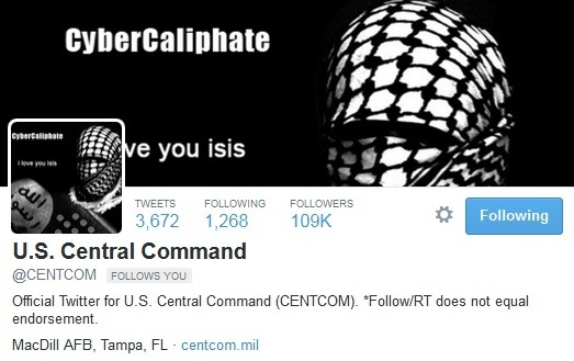 The @CENTCOM account was suspended after the hack.