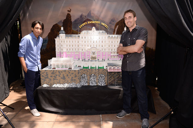 Revolori and Ziegelbauer posed for fan photos with the Lego hotel.