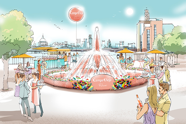 Campo Viejo: fountain's water jet will reach height of London bus.