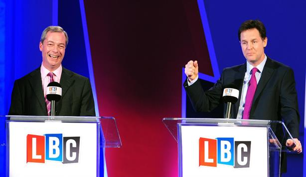 Farage and Clegg during the first of two televised debates (credit: AFP/Getty Images)