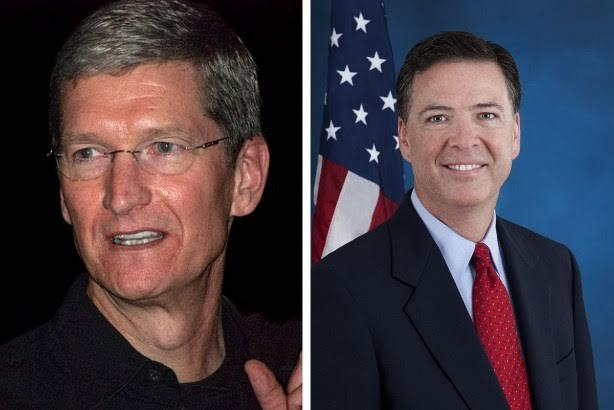 Apple CEO Tim Cook (l) and FBI Director James Comey.