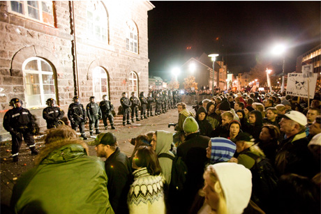 Financial crisis: Protests outside the Icelandic Parliament in 2010 (Credit: Getty Images)