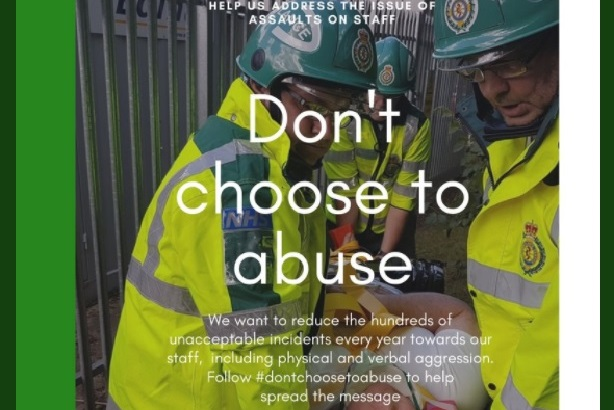 East of England Ambulance Service is highlighting staff attacks with Don't Choose to Abuse campaign