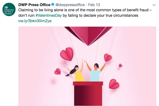 DWP Valentine's Day tweet: Stirred up social and media fury