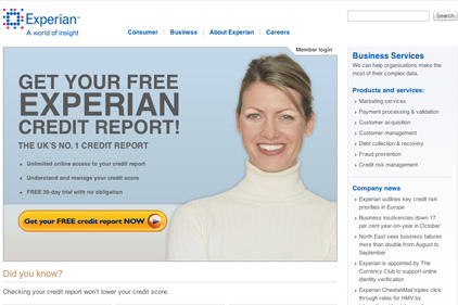 Online credit checker: Experian