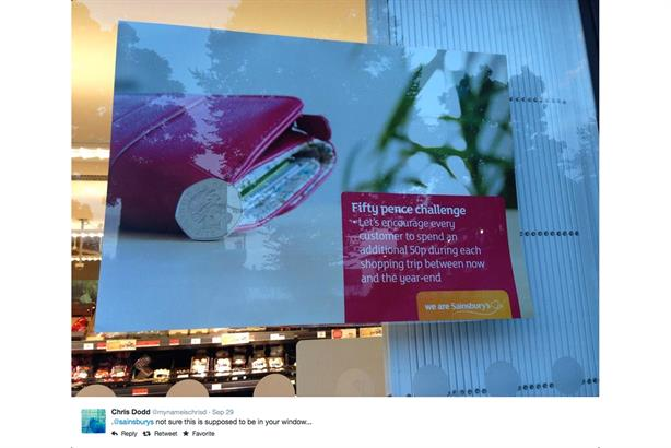 Sainsbury's: staff poster mistakenly ends up in shop window (picture credit: Chris Dodd/Twitter)