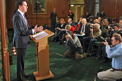 First monthly conference: Miliband addresses the media
