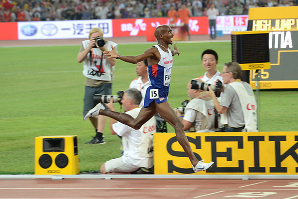 Sir Mo Farah wins gold at the 2015 World Championships in Beijing (image via mofarah.com)