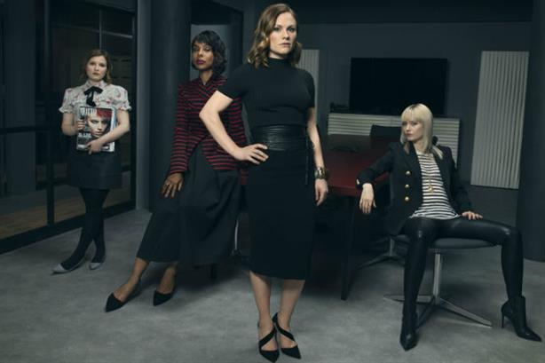 Stars (left to right): Melody (Rebecca Benson), Caroline (Sophie Okonedo), Robyn (Anna Paquin) and Eve (Lydia Wilson)