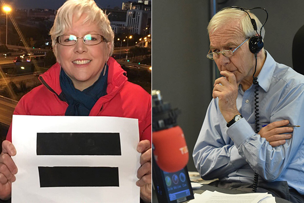Carrie Gracie's resignation was discussed in a slightly ill-tempered interview between John Humphrys and Mariella Frostrup (images via @BBCCarrie & @BBCr4today on Twitter)