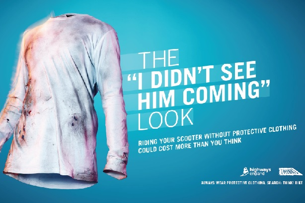 Highway England's campaign: Warns scooter riders of the dangers of wearing inappropriate clothing