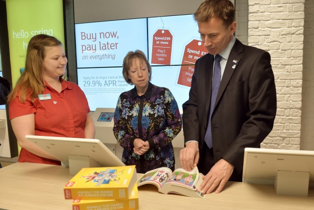 Jeremy Hunt: visiting Argos for Alzheimer's Society scheme