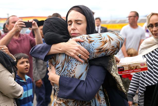New Zealand PR Jacinda Ardern hugs a mosque-goer at the Kilbirnie Mosque after the nation's worst terrorist attack (Photo: Hagen Hopkins/Getty Images)