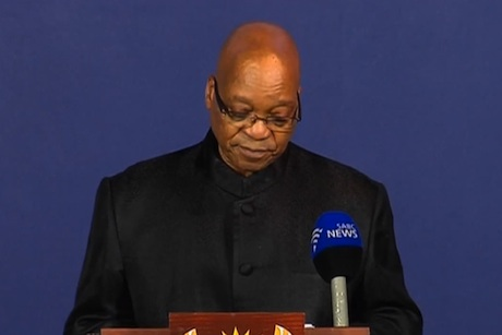 Tribute: Jacob Zuma's speech was broadcast worldwide