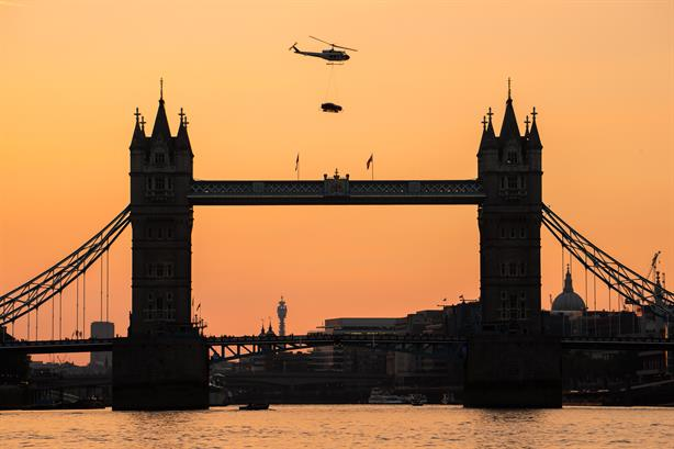 Jaguar XE: Was brought to London by helicopter for a celebrity launch party