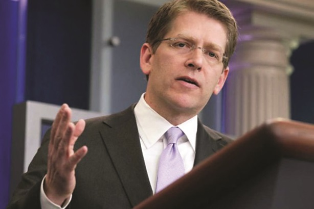 Outgoing press secretary Jay Carney