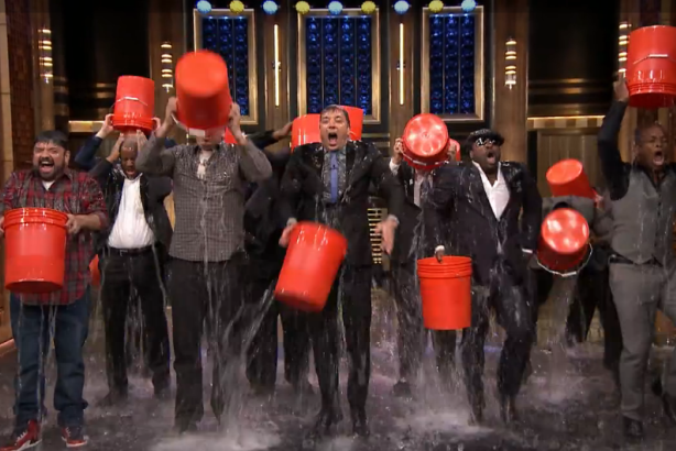 Jimmy Fallon and The Roots accept the ice bucket challenge.