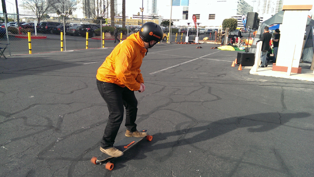 Jonny Stanton at Dynamo road tests an electronic skateboard at this year's CES
