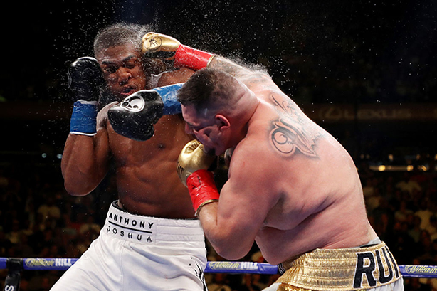 Andy Ruiz Jr lands a meaty blow on Anthony Joshua during their fight in June (©Al Bello/GettyImages)